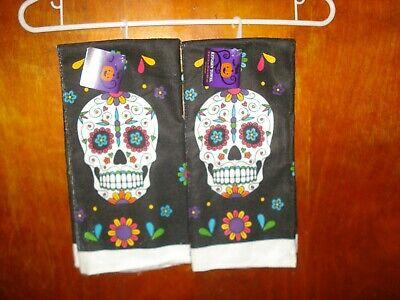 NWT 2 Kitchen Dish Towels w/ Sugar Skulls sugarskull Halloween