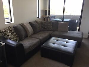 YORK LOUNGE SUITE WITH CHAISE AND OTTOMAN (BLACK & GREY) Cannon Hill Brisbane South East Preview