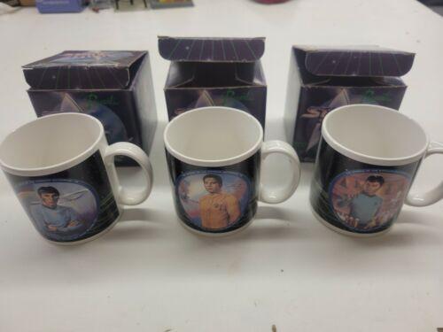 Star Trek 3 Ceramic Coffee Cups Mugs Kirk Spock McCoy * New in Box * Never Used
