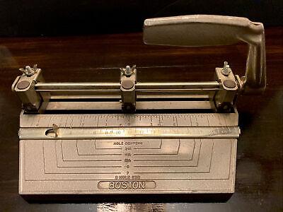 Boston Vintage 3 Hole Punch Std Heavy Duty Metal Office Paper Puncher
