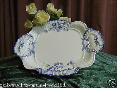 Schöne Servierplatte blaues Dekor / Keramik Vorlegeplatte 32,5 cm / Handbemalt