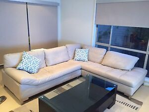 Contemporary Leather L-Shaped Sofa in Excellent Condition Riverview Lane Cove Area Preview