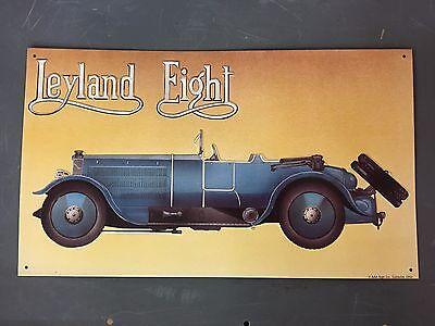 "Vintage Style AAA Tin Sign - Leyland Eight Blue Car 16-1/4"" x 9-1/2"""