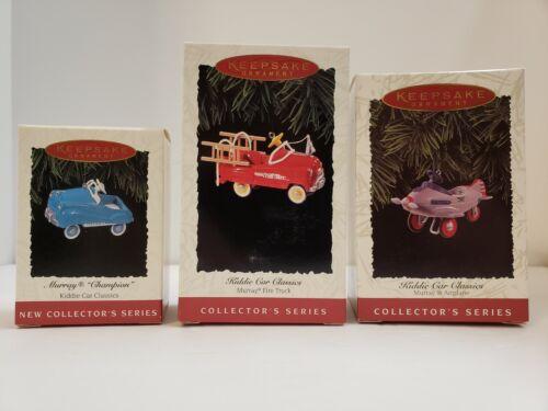 VINTAGE NIB HALMARK KEEPSAKE KIDDIE CAR CLASSICS Cast Metal Set of 3 Ornaments