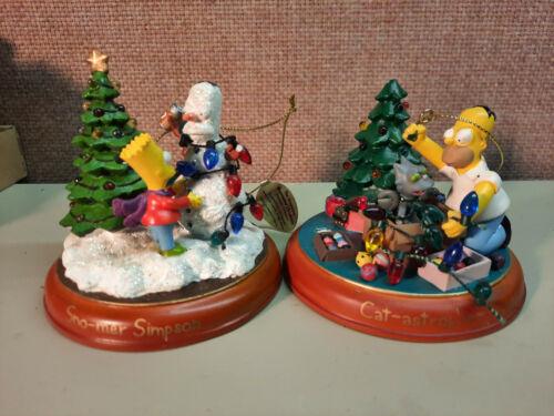 "2 Simpsons Christmas tree ornaments ""Sno-Mer Simpson"" & ""Cat-astrophe"""