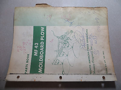 Massey Ferguson 43 Moldboard Plow Parts Book