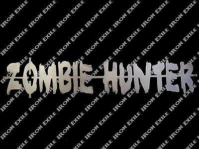 Zombie Hunter Metal Sign Apocalypse Bug Out Vehicle Rat Rod Decor Halloween USA - Zombie Apocalypse Halloween Decorations