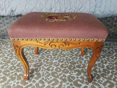 Vintage Wooden w/Needlepoint Cover Ottoman, Stool, Footstool