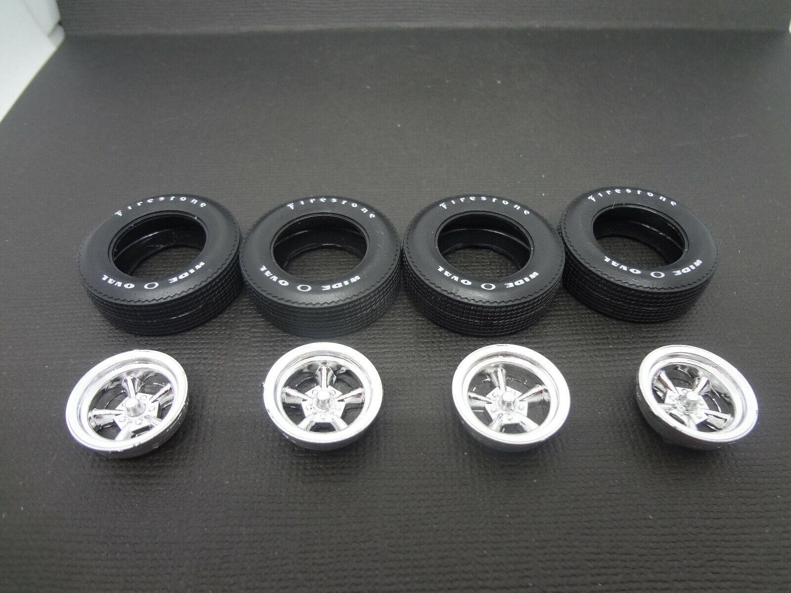 Car Parts - 1:25 scale model car parts Wild Wheels & Wide Ovals Classic 5 Spoke Mags + Tires