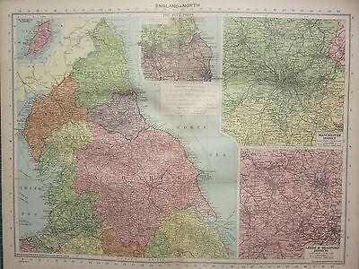 1940 MAP ~ ENGLAND NORTH ~ MANCHESTER LEEDS& BRADFORD ~ TYNE PORTS YORK