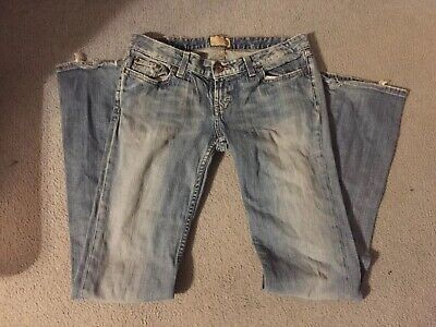 Distressed Denim Bootcut Jeans (BKE Buckle Denim Womens Distressed Starlite Stretch Bootcut Jeans-Size 30x35.5)