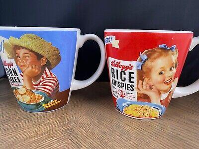 Vintage Kelloggs Corn Flake and Rice Krispies mugs-pair
