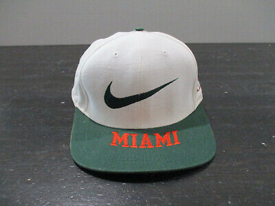 VINTAGE Nike Miami Hurricanes Hat Cap Snap Back White Green UM Football 90s*