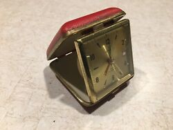Vintage Timex Travel Alarm Clock Red Wind Up