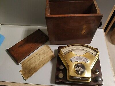 Antique Weston Volt Meter From 1890 With Wooden Box - Made In Usa - Working