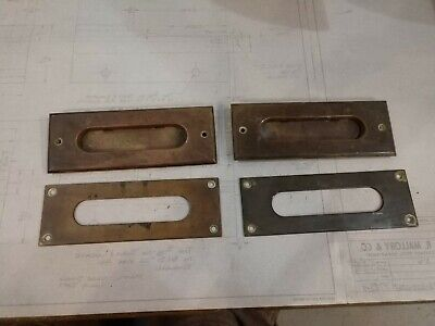 2 Reclaimed Vintage Antique Brass Mail slots.Nice patina as found.