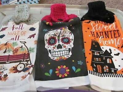 LOT OF 3 CROCHETED HANGING KITCHEN TOWELS HALLOWEEN WAGON/SUGAR SKULL/HOUSE