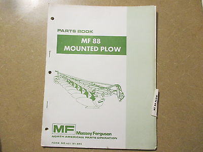 Massey Ferguson 88 Plow Parts Manual