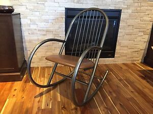 Leather and metal modern rocking chair
