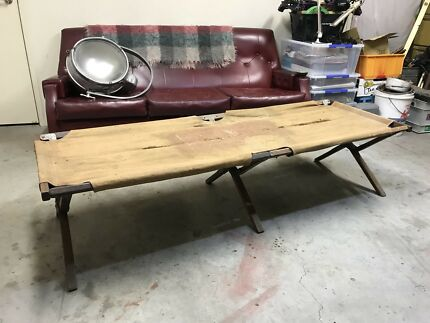 Vintage Military Camp Bed Folds Away suit recover