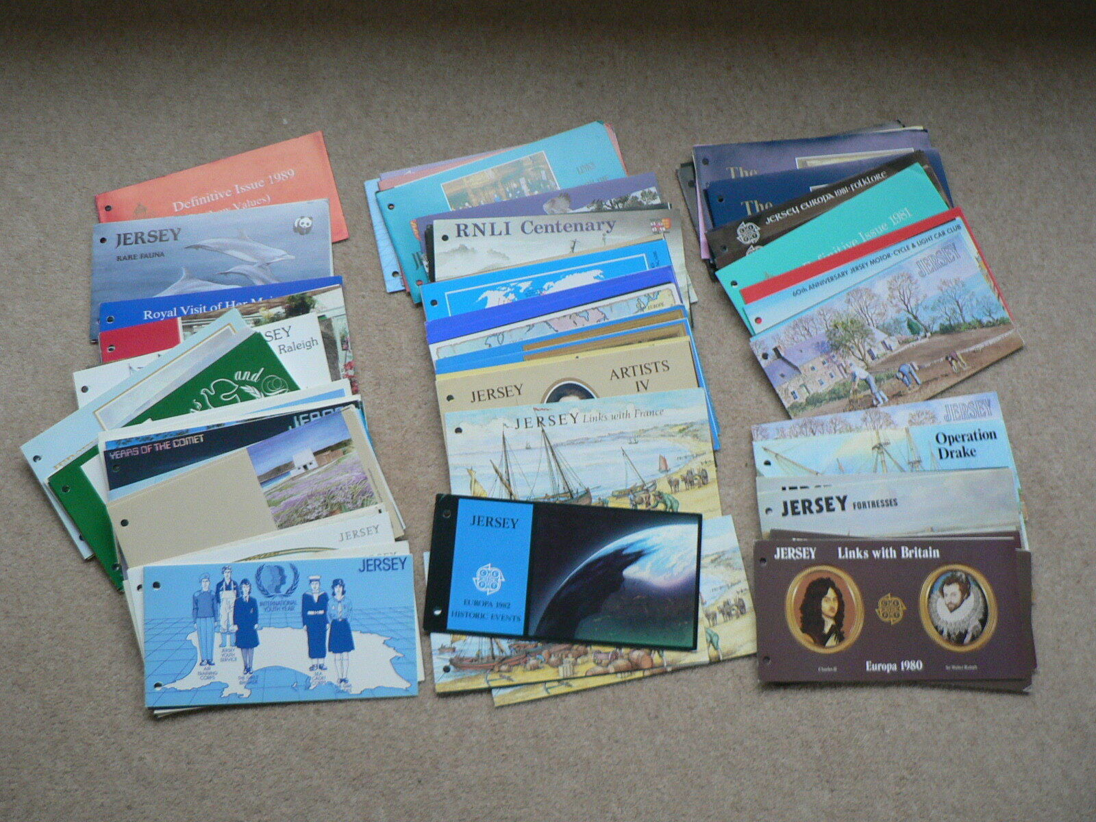 Jersey Presentation Packs, Various Sold Individually, Mint Stamps, 1980 - 1989
