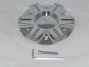VCT SCARFACE II CHROME WHEEL RIM CENTER CAP N180-2090-2295CAP LG0510-20 w/ SCREW