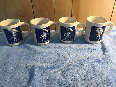 "Morton Salt Umbrella Girl 4 Coffee Mugs Cup Vintage ""When it Rains it Pours"""