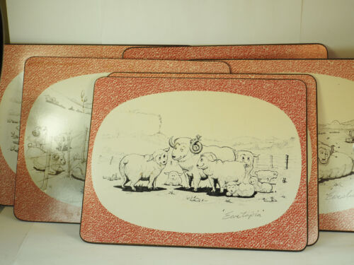Sheep Ewe cartoon place mats 6 vintage mid century modern hard board  11 X 9""