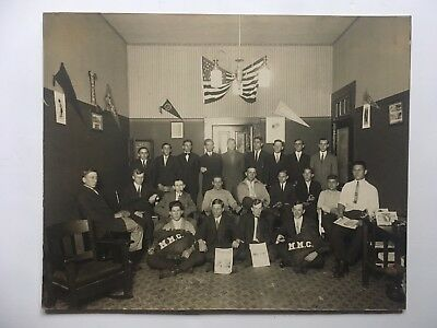 EARLY MOTORCYCLE CLUB ANTIQUE PHOTO HARLEY DAVIDSON