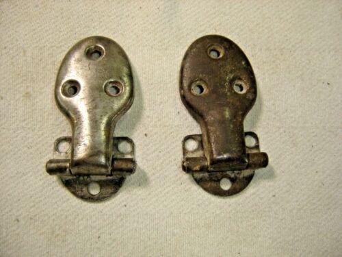 "Salvage ~Antique ~ Pair Nickel over Steel Ice Box Hinges 3/8"" Off Set~ 1562"