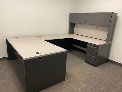 Executive U-shape Desk By Hon Office Furniture W Light Gray Laminate Top