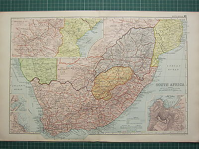 1900 LARGE VICTORIAN MAP ~ SOUTH AMERICA CAPE COLONY ORANGE FREE STATE CAPE TOWN