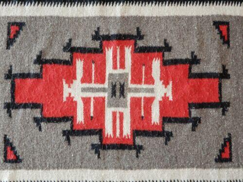 "Navajo Rug  58"" x 30"" Red, Black, Gray + Natural, Ganado Style"