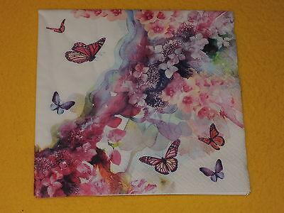5 stück Servietten DREAMER Schmetterlinge Blumen 1/4 Serviettentechnik romatisch