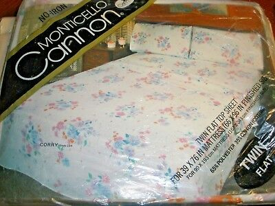 NEW Monticello Cannon Twin Flat Sheet Corry Multi Color Floral on White