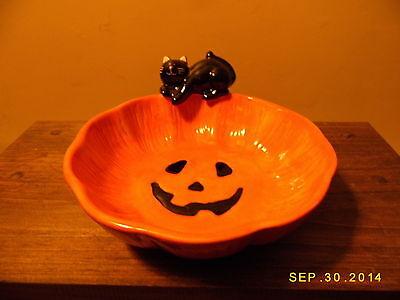 KING MAY HALLOWEEN CERAMIC CANDY BOWL, JACK-O-LANTERN AND BLACK CAT, - Halloween Cat Candy Bowl