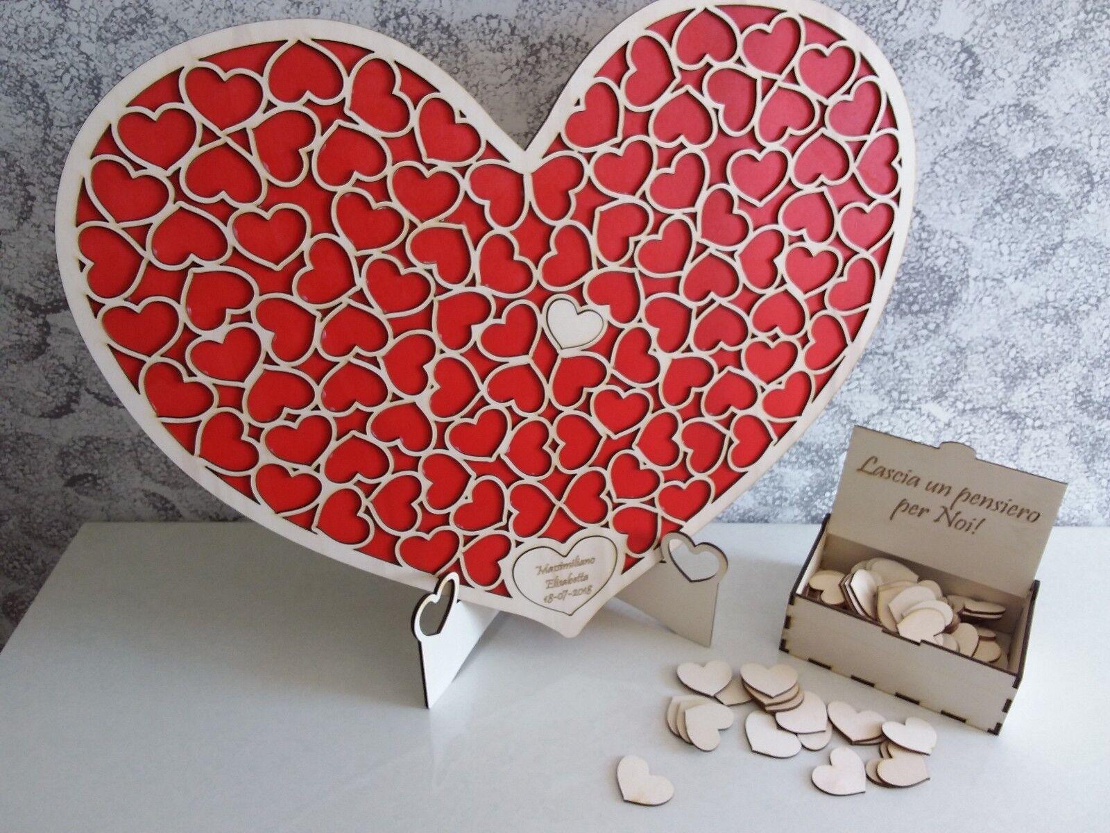 Guest book matrimonio libro degli ospiti dropbox legno nozze puzzle cuore heart