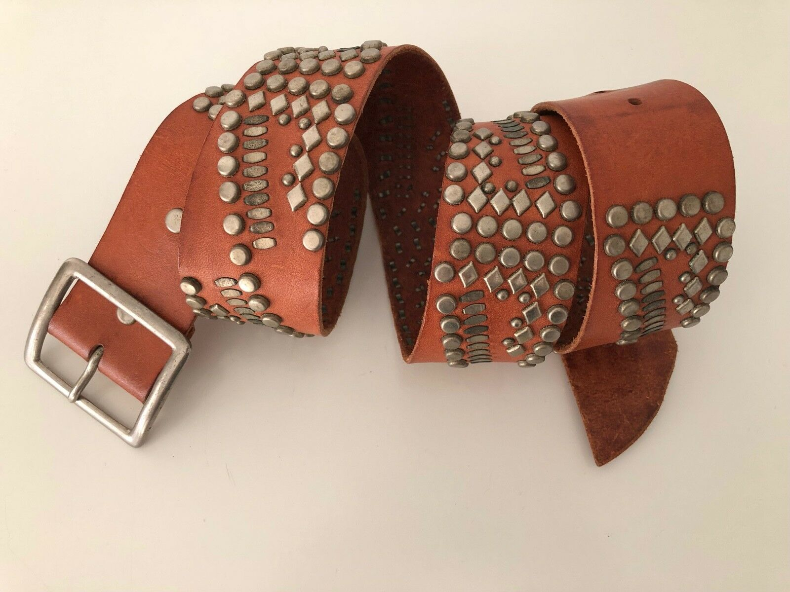 CALLEEN CORDERO BELT BR. Leather STUDDED Antiqued Nickel BRASS Detailing 36 - $99.00