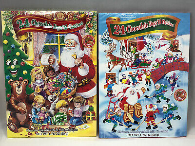 2 New Traditional Paper 24 Day Advent Calendar Filled Chocolate Treats Christmas