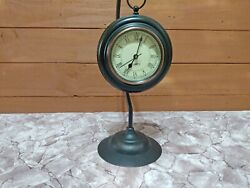 Vintage Brown Suspended Mantel Clock Metal Cute Round Small Swinging Table Clock