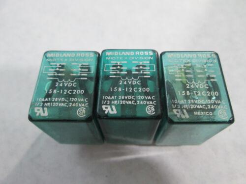 Lot of 3 Midtex 158-12C200 Cube Relays (14 Pin Square, 24 VDC Coil)