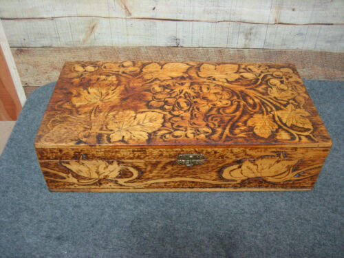 Wooden Box with Burned Design