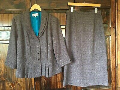 Danny&Nicole Purple Gray 2 Pc Skirt Suit Elastic Waist Long Sleeve Sz 16 Women's Elastic Waist Long Sleeve Skirt