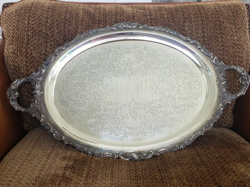 "Large Vintage Silverplate Serving Tray Platter ""BAROQUE"" by WALLACE w/Handles"