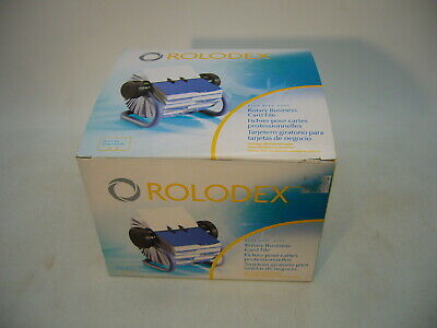 Rolodex Rotary Business Card File Blue 200 Sleeved Cards New Open Box Dated 2006
