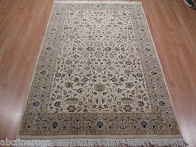 4x6 Persian Fine Museum Intricate Kashan Handmade-Knotted Wool/Silk Rug 580572