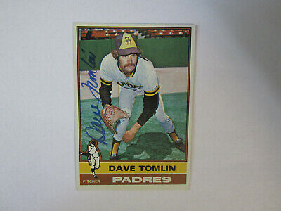 1976 Topps # 398 Dave Tomlin Autograph Signed Card (M) San Diego Padres