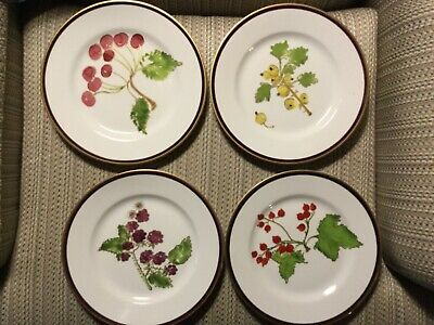 4 CRATE & BARREL - SALAD PLATES - VARIOUS FRUITS - 2 SETS OF 4 AVAILABLE -