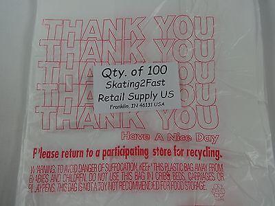 100 Qty. THANK YOU Plastic T-Shirt Retail Shopping Bags w/ Handles 7
