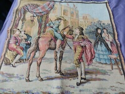 French Tapestry of A Matador with horse & Ladies 19.5
